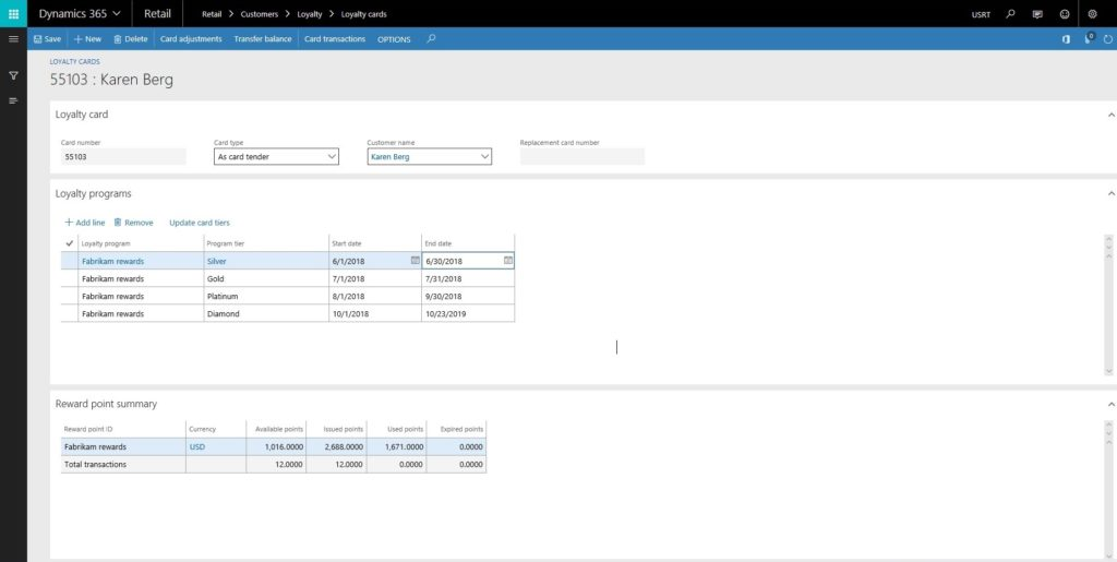 Loyalty Cards in Dynamics 365 for Retail Software; D365 Software Loyalty Card