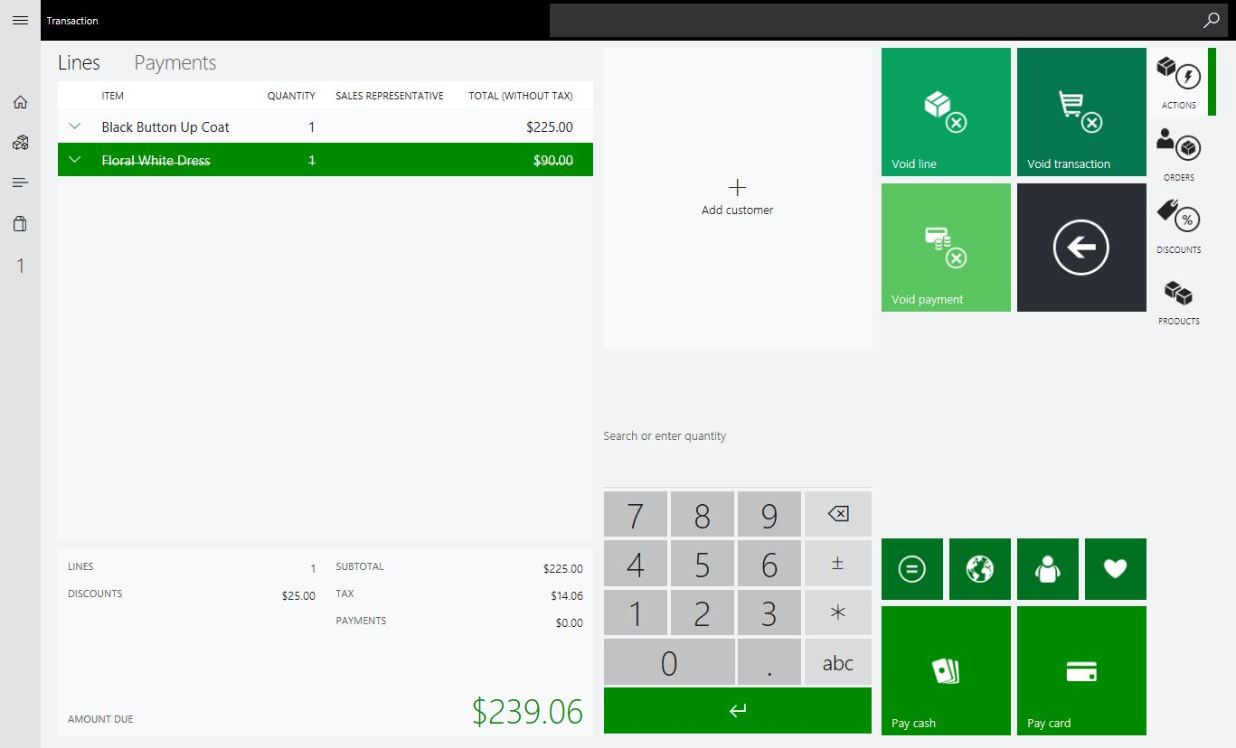 Cashiering and Store Transactions – Microsoft Dynamics 365