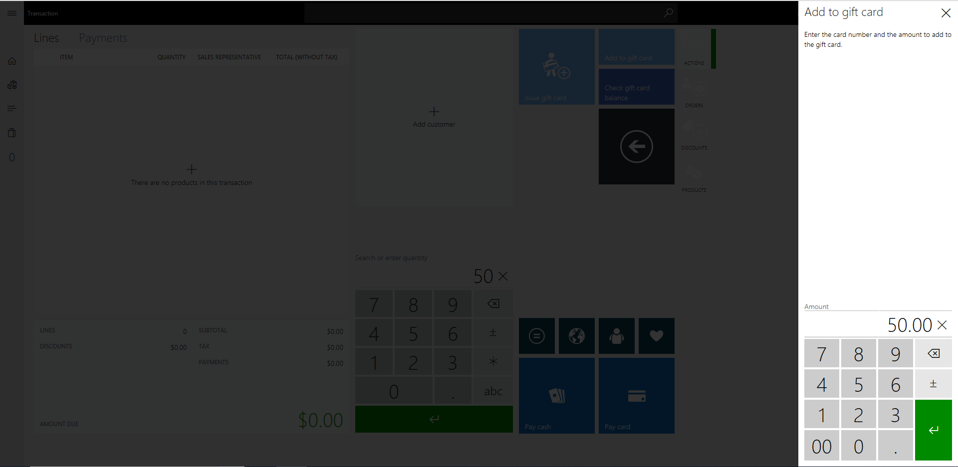 Adding Funds to a Gift Card in Dynamics 365 for Retail POS; Gift Card Top Up
