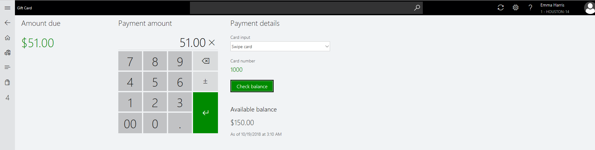 Dynamics 365 for Retail POS with Gift Card as the Payment Method